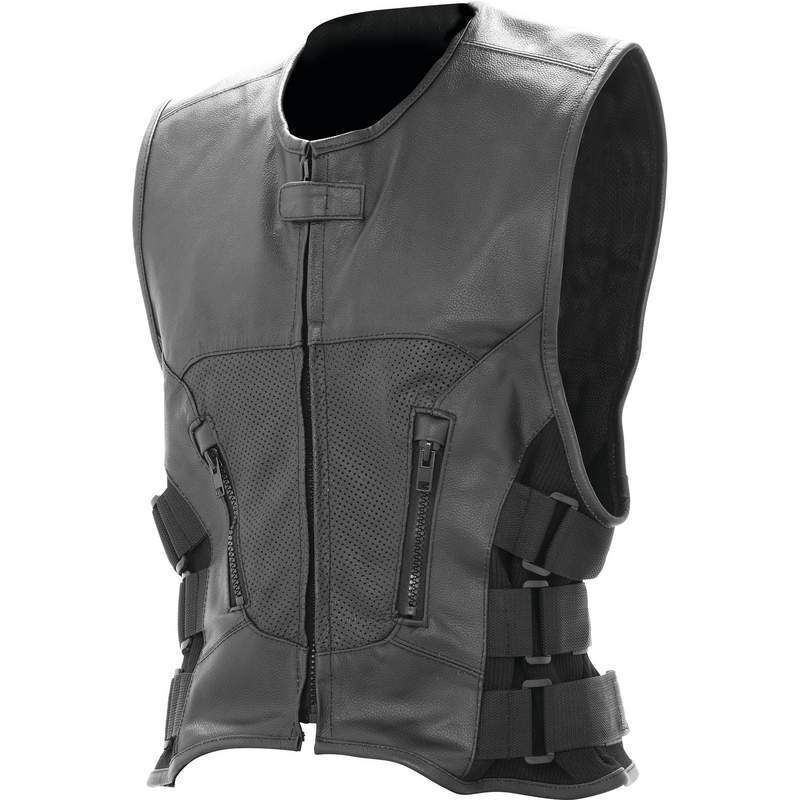 SOLID LEATHER VEST Mens Black Buffalo Classic Motorcycle MC