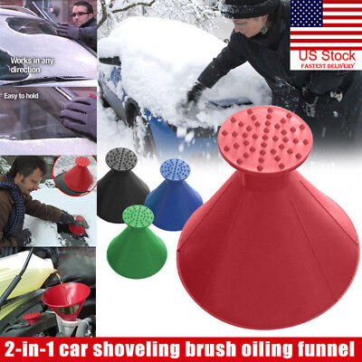 US Car Windshield Ice Scraper Tool Cone Shaped Outdoor Round Funnel Remover Snow