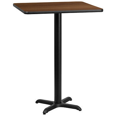 24 Square Walnut Laminate Table Top With 22 X 22 Bar Height Base