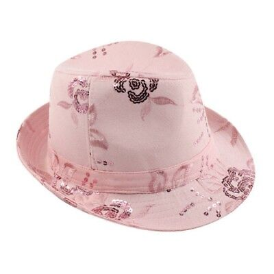 (LADIES FEDORA WITH SEQUINS FLOWER DESIGN - PINK = NEW WITH FREE SHIPPING)