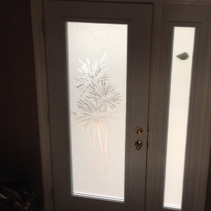 frosted glass with etched design