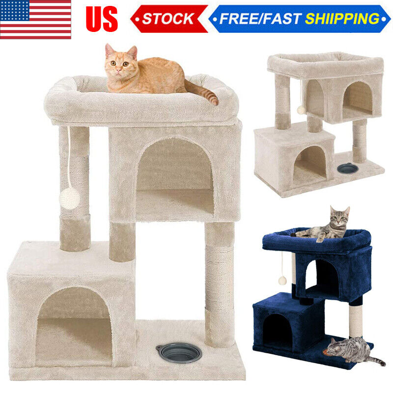 """33"""" Cat Tree Tower for Multiple Cats Bed Play House Pet House w/Scratcher Bar US"""
