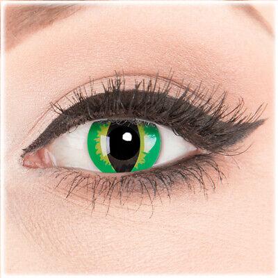 Gelb grüne Katzenauge Kontaktlinsen grün schwarz Cat Eye Halloween Fasching (Cat Eye Kontakt)
