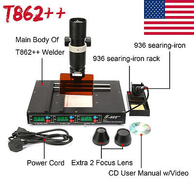 T862 Bga Rework Station Irda Welder Infrared Soldering Station Metalworking Us