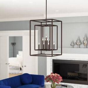 9 light Square/Rectangle Contemporary Chandelier