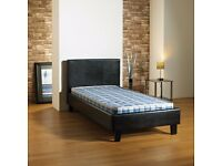 "*FREE LONDON DELIVERY** BRAND NEW Single Leather Bed Frame With 10"" Thick Royal Orthopaedic Mattress"