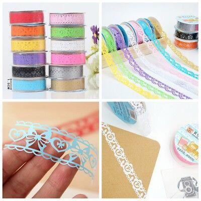 Decorative Tape (New 1pc Roll Lace Paper Adhesive Washi Tape Sticker Masking Craft Decorative)