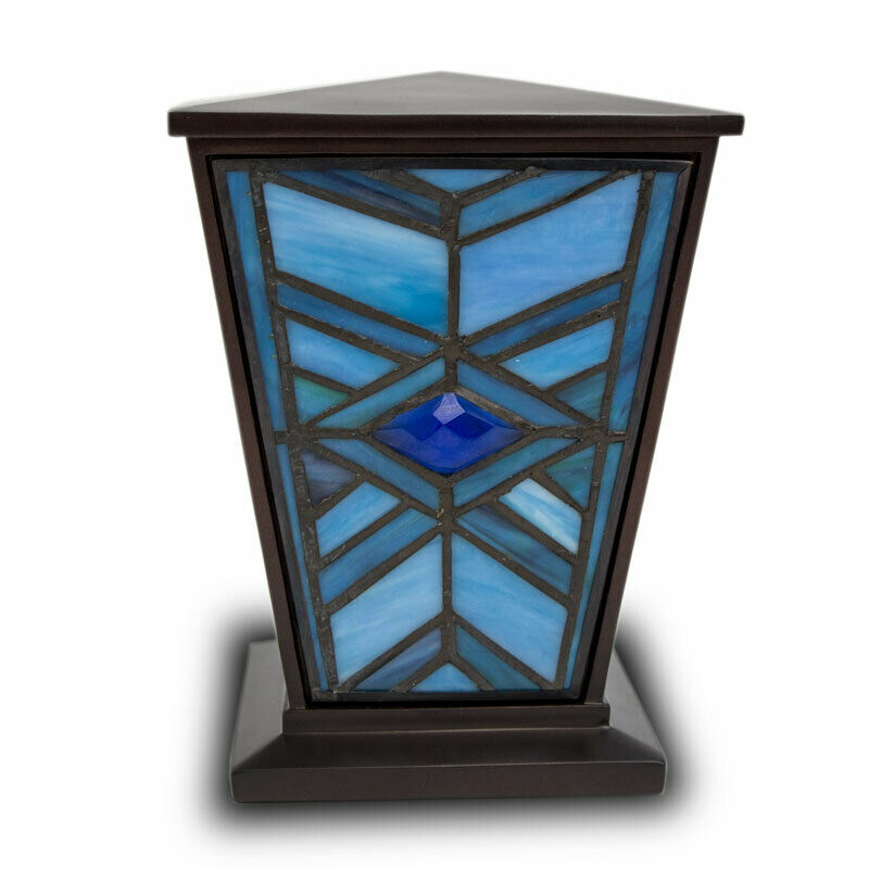 Mission Style Stained Glass Cremation Urn for Ashes - Medium Indigo Blue