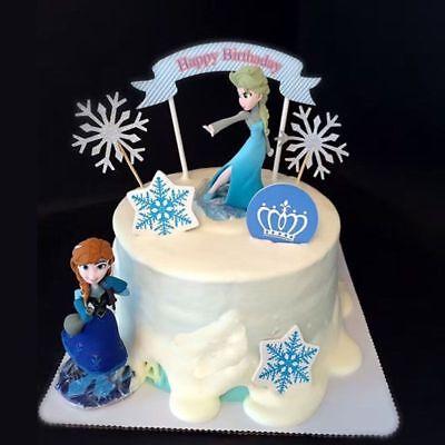 Disney Frozen Anna & Elsa Cake Topper Figure Statue Birthday Cake Decor ()