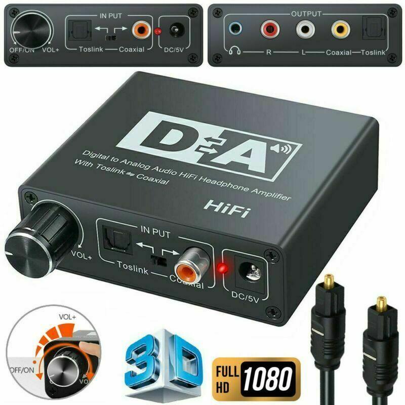 DAC Optical Digtal Coaxial Fiber to Analog RCA L/R Audio AUX Speaker Converter