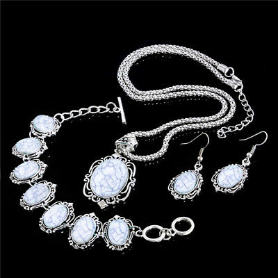 Elegant Women Turquoise Jewelry Set Silver Bib Necklace+Drop -