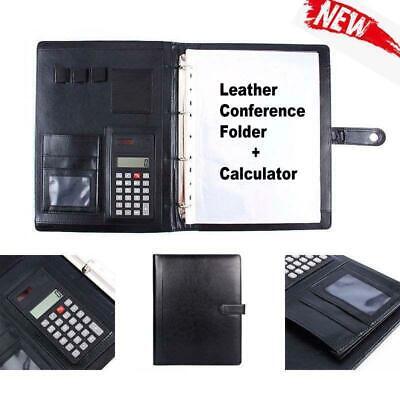 A4 Leather Conference Folder Portfolio Ring Binder Organiser Calculator US Stock