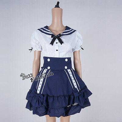Lolita White Mixed Blue Navy Party Halloween Maid Uniform Costume Cosplay Dress - White Navy Uniform Costume
