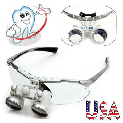 Teeth Dental Surgical Medical Binocular Loupes 3.5x 420mm Optical Glass Loupes