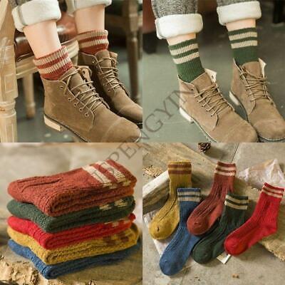 4 Pairs Lot Womens Cashmere Wool Thick Warm Socks Winter Fashion Striped (Thick Womens Fashion)