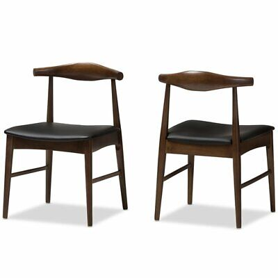 Baxton Studio Winton Dining Side Chair in Black and Brown