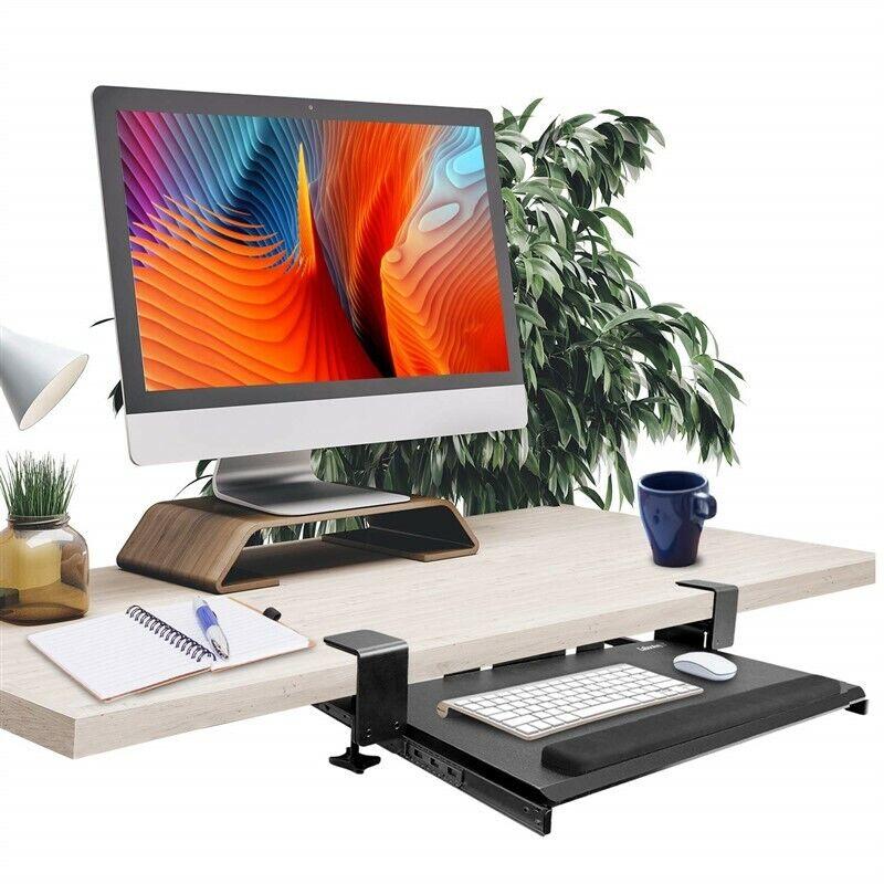 Keyboard Tray Under Desk,Clamp on Keyboard Tray Adjustable E