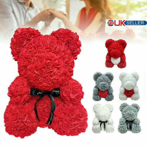 25CM Flower Bear Lovely Teddy Bear Lovers Gifts Wedding Rose Bear Toy Gift