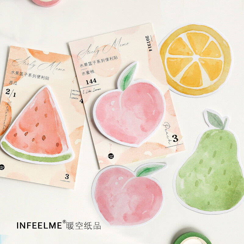 Kawaii Fruits N Times Sticky Memo Pad Sticker Bookmark Office School Supplies