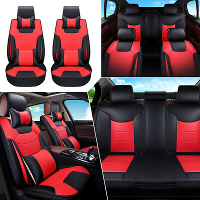US 5-Seats Microfiber Leather Car Seat Cover Front+Rear Cushion W/Pillow Size L