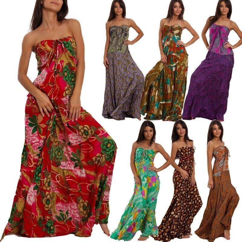 meet 11aea 915d9 Dettagli su Vestito donna lungo etnico Ibiza abito gonna ampia boho gipsy  sexy IND-703