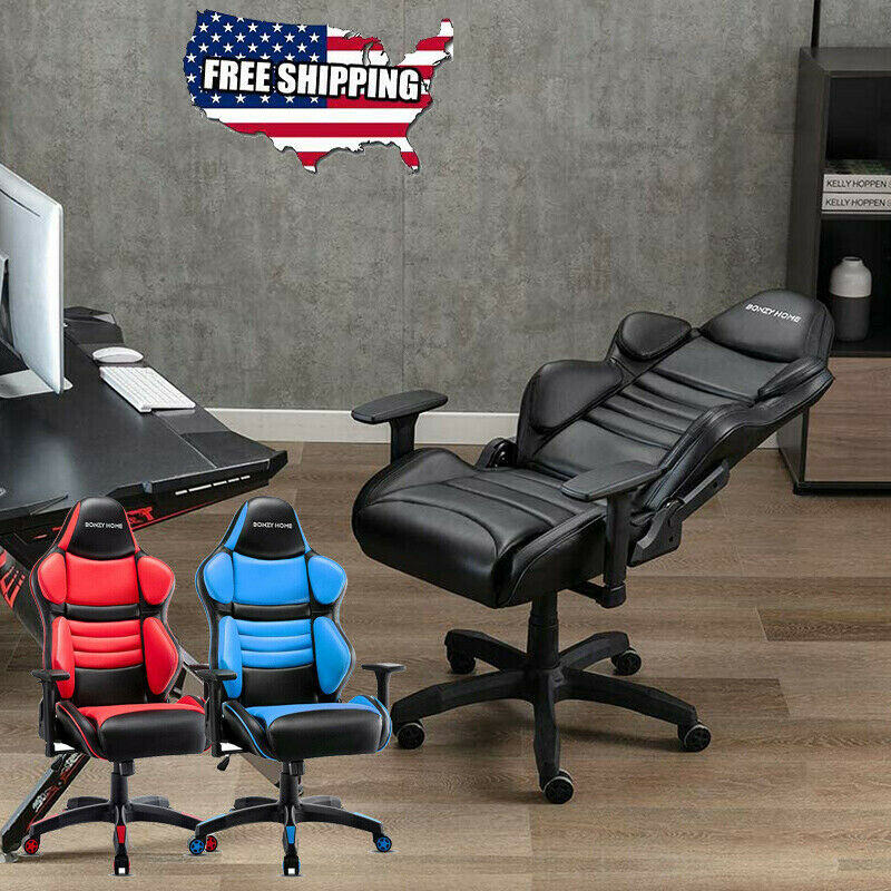 GAMING CHAIR RACING STYLE SWIVEL RECLINER COMPUTER OFFICE DESK SEAT HIGH BACK