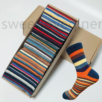 5 Pairs Mens Cotton Socks Lot Chromatic Stripe Fancy Design Casual Dress Men - Fancy Dress Pairs