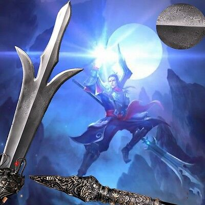 Pattern steel Three-eyes God Three pointed double-edged knife spear Sword #015