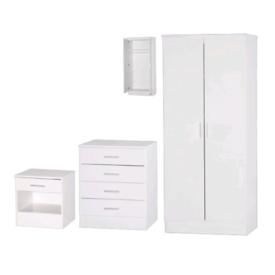 Galaxy White Gloss Two Tone 3 Piece Wardrobe Set