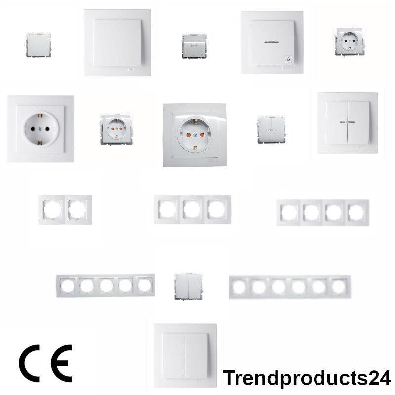 Schuko Steckdosen, Steckdose, Ein/Ausschalter,Wechselschalter,Lichttaster,Rahmen