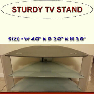 FLAT SCREEN TV STAND WITH TWO GLASS SHELVES