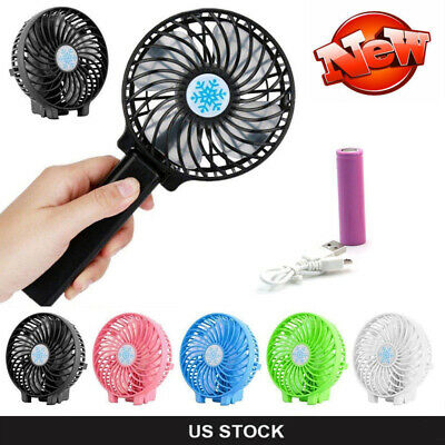 Rechargeable Quiet Fan Air Cooler Mini Operated Hand Held USB +18650 Battery New