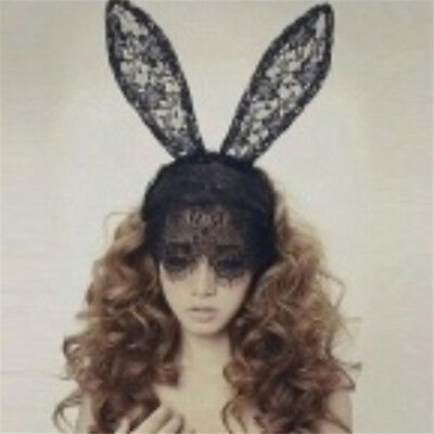 Lace Rabbit Mask (Black Mask Rabbit Ear Party Headband Hair Fashion Women Lace)