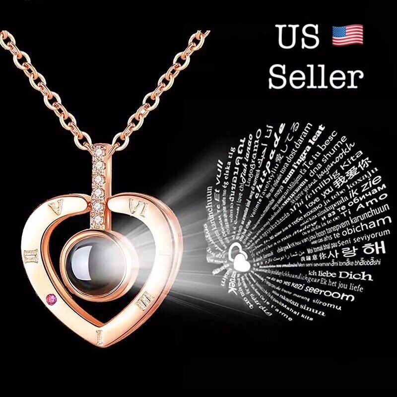 Jewellery - I LOVE YOU in 100 Languages Light Projection Heart Necklace Girlfriend