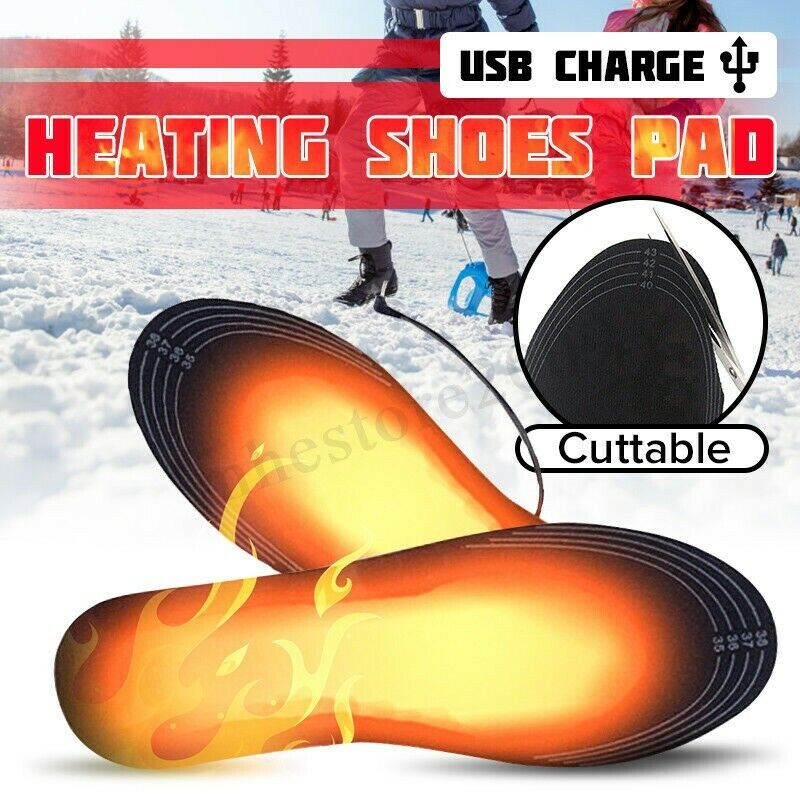 Electric Heated Shoe Cutable Insoles Feet Heater USB Socks Ski Boot Warmer Pads
