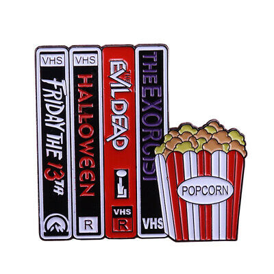 80s 90s VHS Halloween Horror Movie Lot Enamel Clutch Fashion Retro Tie Pin NEW