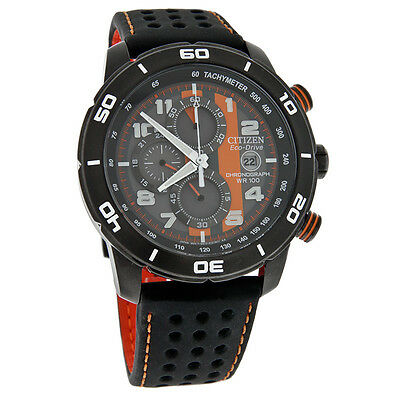 Citizen Eco-Drive Mens Primo Chronograph Black Orange Leather Watch CA0467-11H