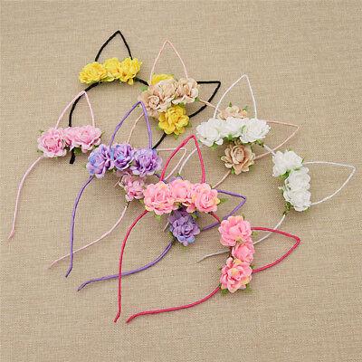 Lovely Rose Flowers Kitty Cat Ear Headband Party Costume Accessories Women Girls