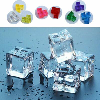 Acrylic Ice Cubes (1/15/20/50x Reusable Artificial Plastic Acrylic Ice Cubes Photo Props Bar)