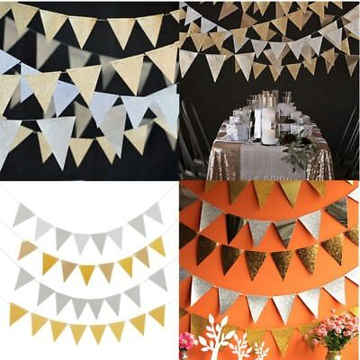 2 Colors Flag Banner Glitter Paper Pennant Bunting Garland Wedding - Pennant Banner