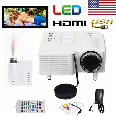 HD 1080P LED Multimedia Mini Projector Home Theater Cinema AV TV VGA HDMI USB SD