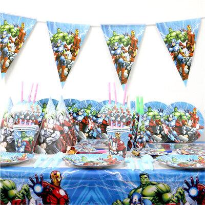 Avengers Geburtstags Party Dekor Maske Tischdecke Ballon Banner Teller (Avengers Geburtstag Banner)
