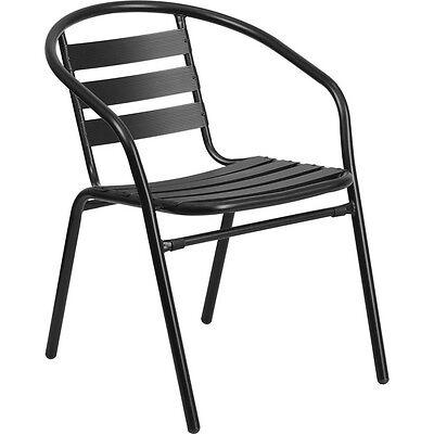 Flash Furniture Black Metal Restaurant Stack Chair W Aluminum Slats New