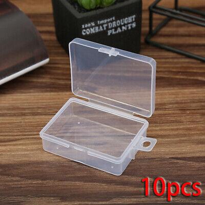10 Piezas Mini Plástico Transparente Caja Pequeña Gancho, Joya, Tapon Almacenaje