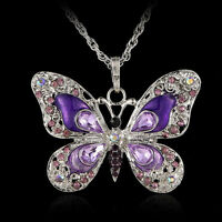 2015 Rhinestone & Crystal Purple Butterfly Pendant Necklace