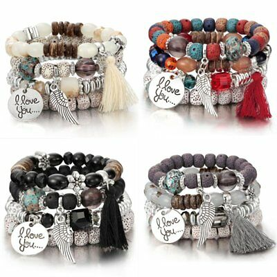 4Pcs I Love You Multilayer Natural Stone Crystal Bangle Beaded Bracelet Jewelry Beaded Gemstone Jewelry