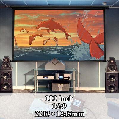 100 Inch 16:9 Manual Pull Down Projector Projection HD Screen Home Theater Movie