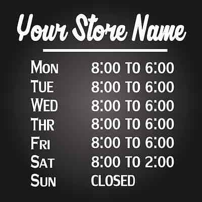 Custom Business Store Hours Vinyl Window Decal 11x12 Sticker Sign Glass Door