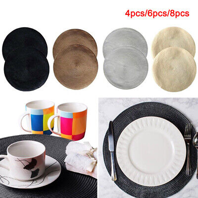 4/6/8PC Round Jacquard Weaved Non Slip Insulation Placemats Dining Table Mats