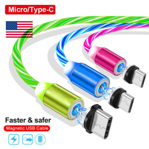 US 360° Magnetic Charger Glowing Micro USB Type C Plug Cabl